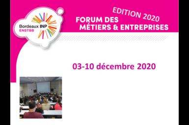 Participation de Sanofi à l'édition 2020 du forum des Métiers & Entreprises de l'ENSTBB