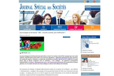 Analyses du Journal Spécial des Sociétés suite au colloque de la Réforme des jeux